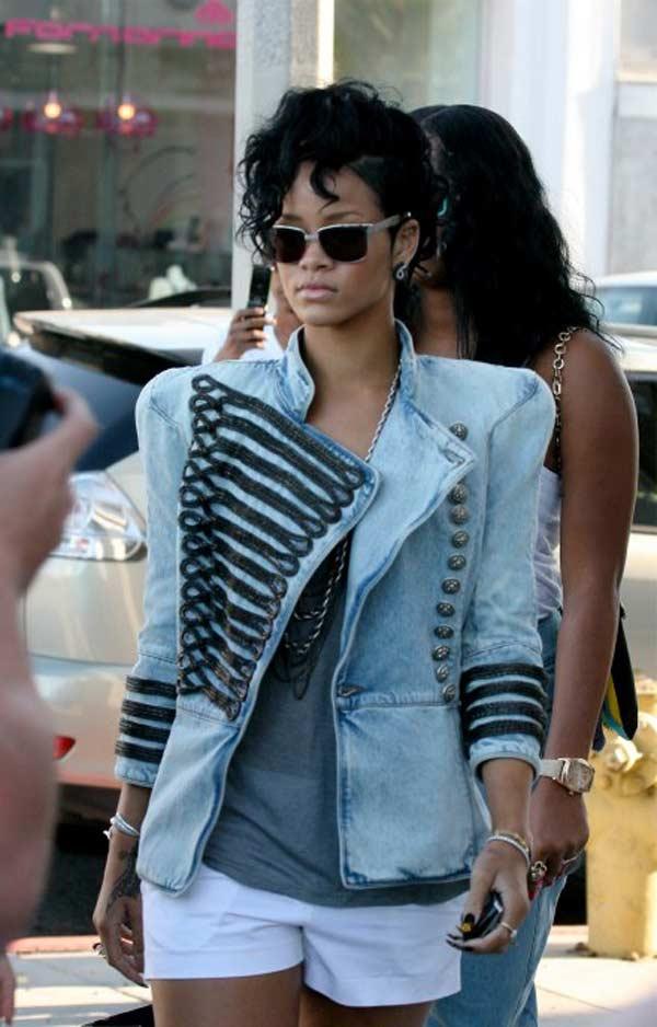 Rihanna, Balmain Denim Military Jacket 2013