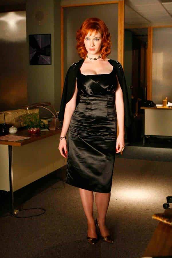 christina hendricks in black dress plus size women