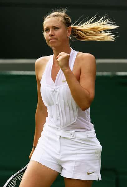 Maria Sharapova - Tuxedo tennis outfit white