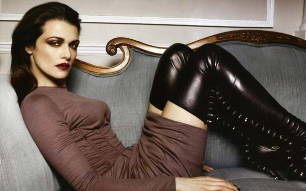 rachel weisz - black leather boots