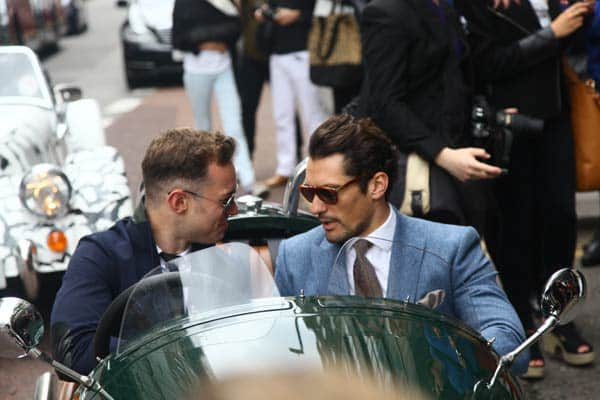 David Gandy  driving a three Wheeler Morgan