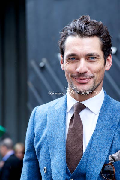 David Gandy wearing Reiss blue Suit