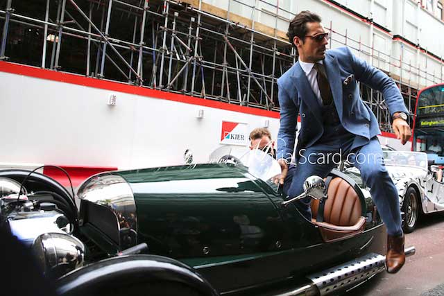 David Gandy - London Collections Men wearing a Reiss Blue Suit