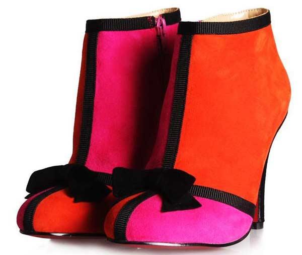 orange pink boots