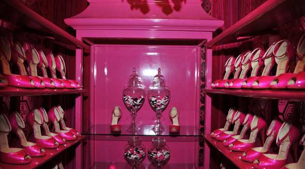 pink shoe  storage