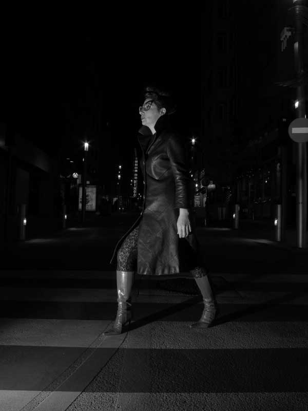 Gracie Opulanza - Wearing Black Leather Vintage coat