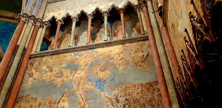 fresco-secco or secco mural painting techniques, which are applied to dried plaster assisi Umbria