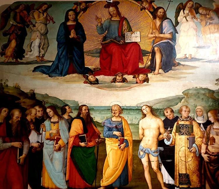 fresco-secco or secco mural painting techniques, which are applied to dried plaster