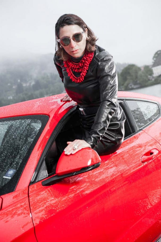 Ford-Mustang-GT-V8-Gracie-Opulanza-fendi-leather-dress-2015-1